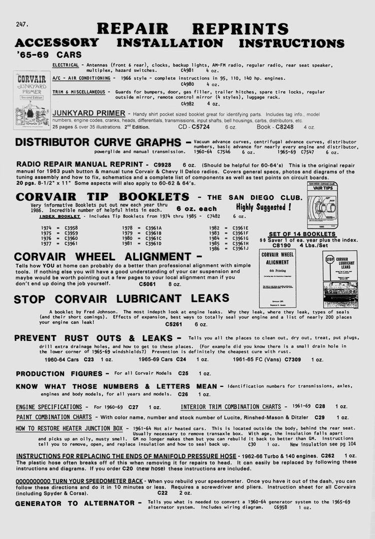 Clarks Corvair Parts Inc Catalog Over 12000 1965 Wiring Diagram