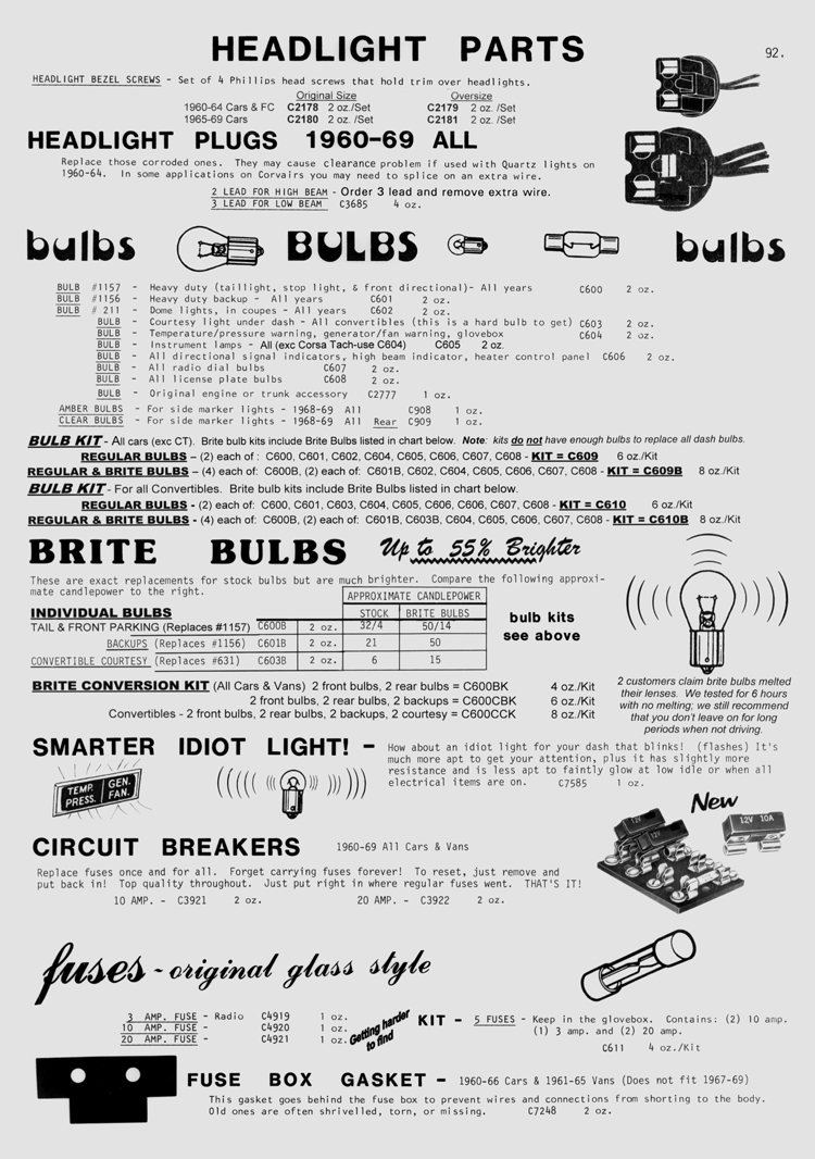 Clarks Corvair Parts Inc Catalog Over 12000 20 Amp Fuse Box